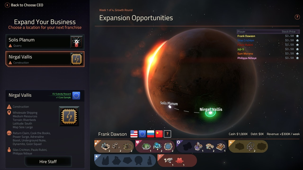 Location Selection - Offworld Trading Company