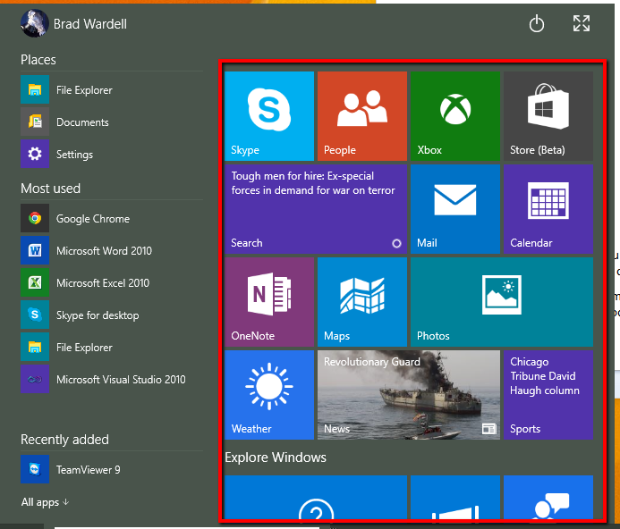 Windows 10 Start menu 9926 review with Brad Wardell