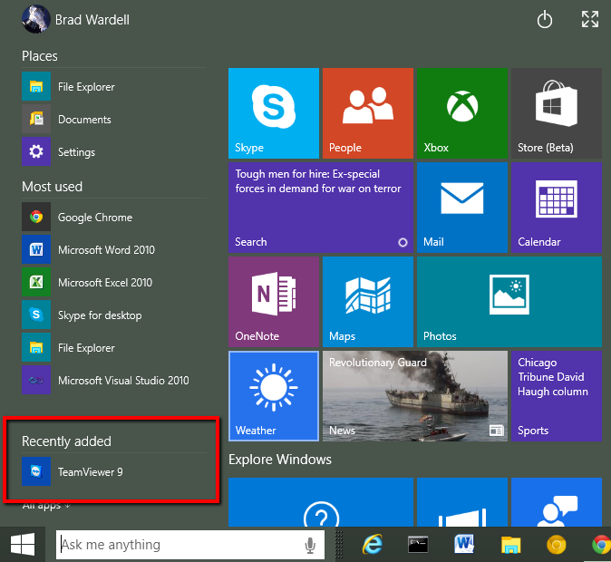 how to add recently added in windows 10