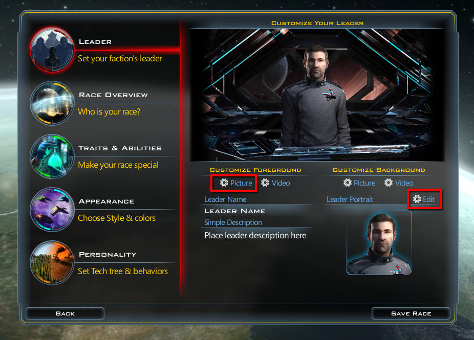 GalCiv III: Making your own custom race